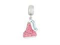 Hershey`s Kiss Pink CZ Small 3D Dangle Pandora Compatible Bead/ Charm