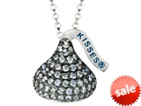 "June Birth Month CZ""s Medium Flat Back Shaped Hershey`s Kiss Pendant Necklace- Chain Included style: AK0327PLCZ00SS"