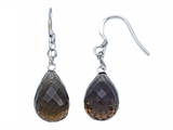 Briolette Smokey Quartz Hanging Hook Earrings style: YAU101