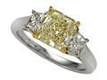 Natural Fancy Yellow Three Stone Hand Made Engagement Ring