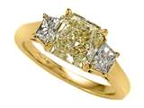 Natural Fancy Yellow Three Stone Hand Made Engagement Ring style: 4991